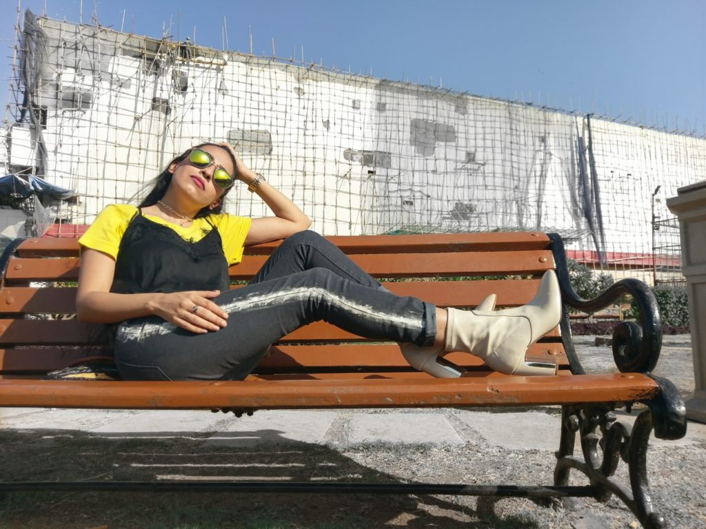 style, summer fashion, indian blogger, painted denim, grey pants look, black and yellow outfit