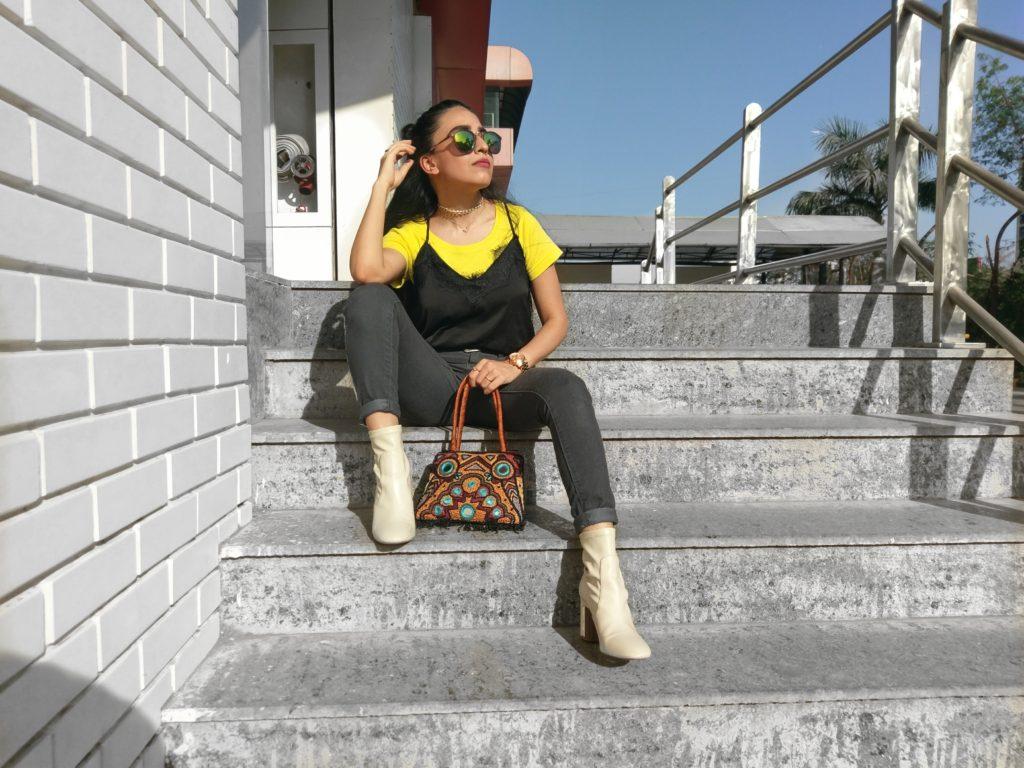 city style, slip dress, layered t-shirt, women's style
