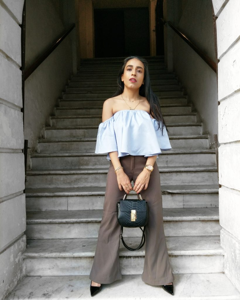 Summer street style, fashion week, wide leg pants, blue off shoulder top, indian fashion blogger