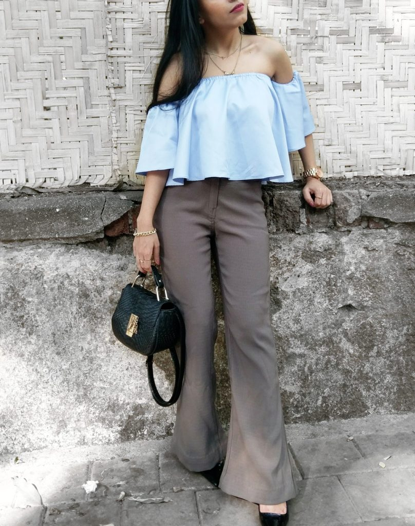 sky blue strapless top, wide legged pants, heels, street style