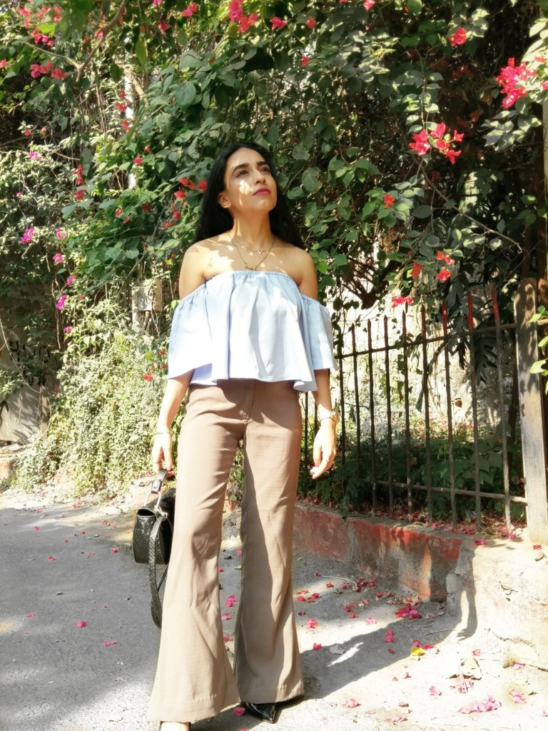 cold shoulder blouse, khaki trousers blue, olive fashion colors, street style, indian fashion blogger