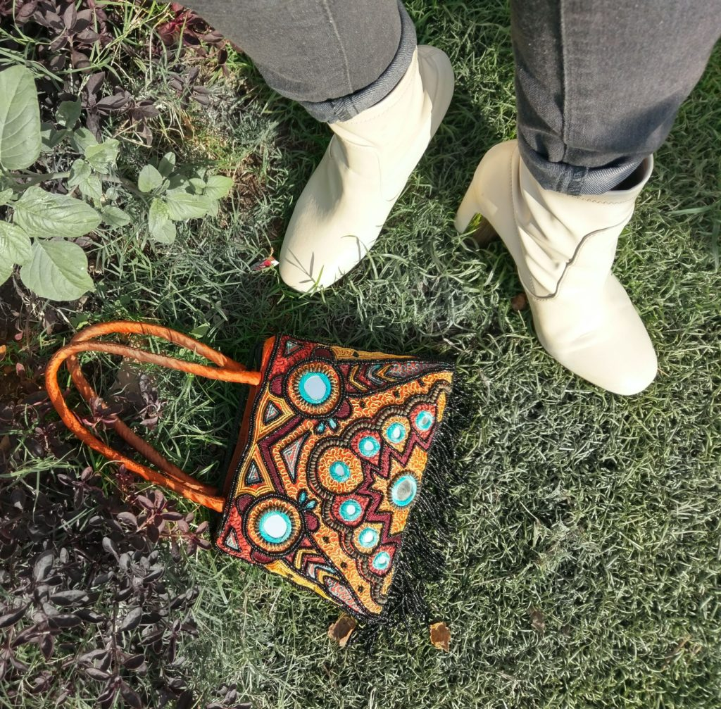 vintage beaded bag, handicraft, leather boots, details, top shot, product details, fashion. style
