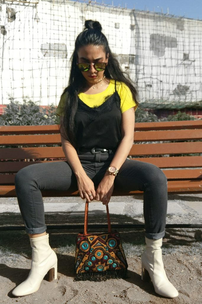 boots, vintage bag, beaded bag, yellow tee, black lace slip top, fashion