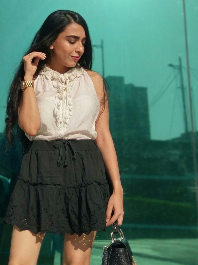 Ruffles, fashion top, chikan work skirt