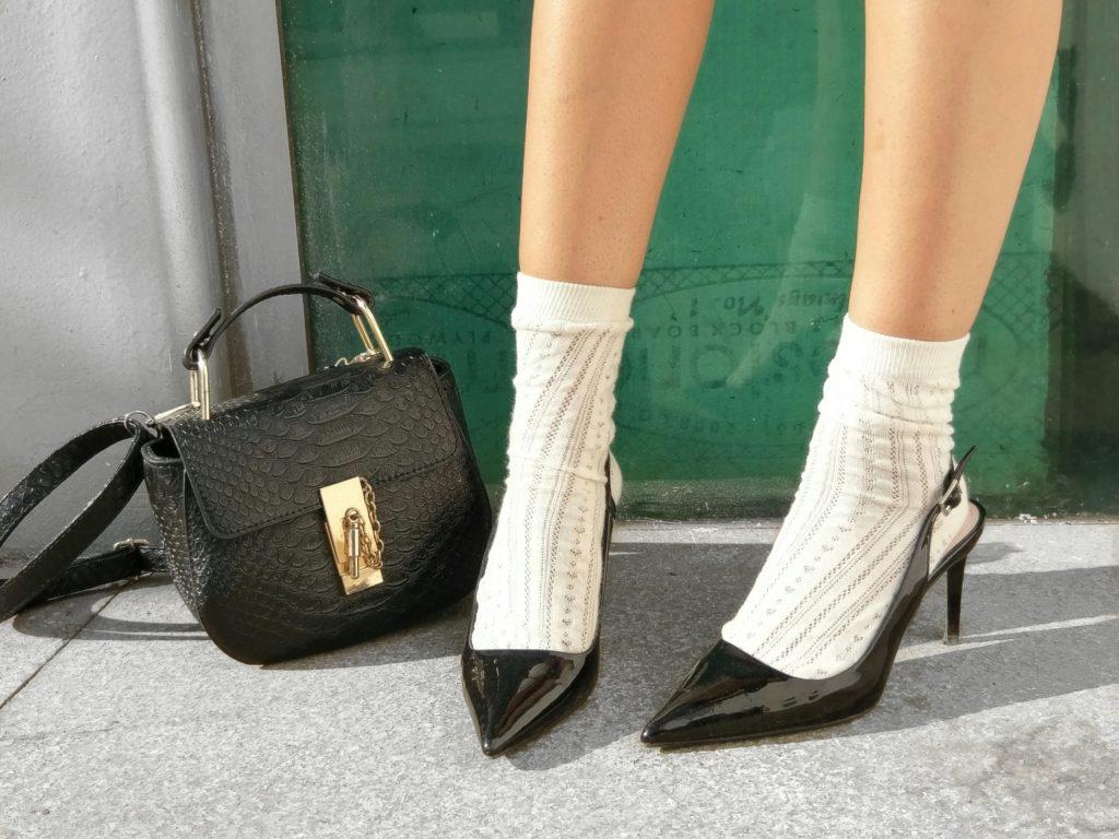 socks with heels, black heels, chloe bag, details