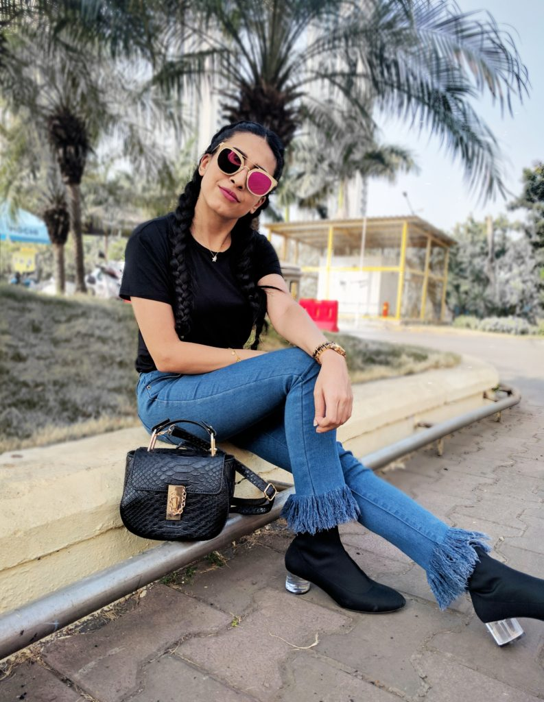 pink shades, reflector shades, black sling bag, ootd, street style, india fashion blogger