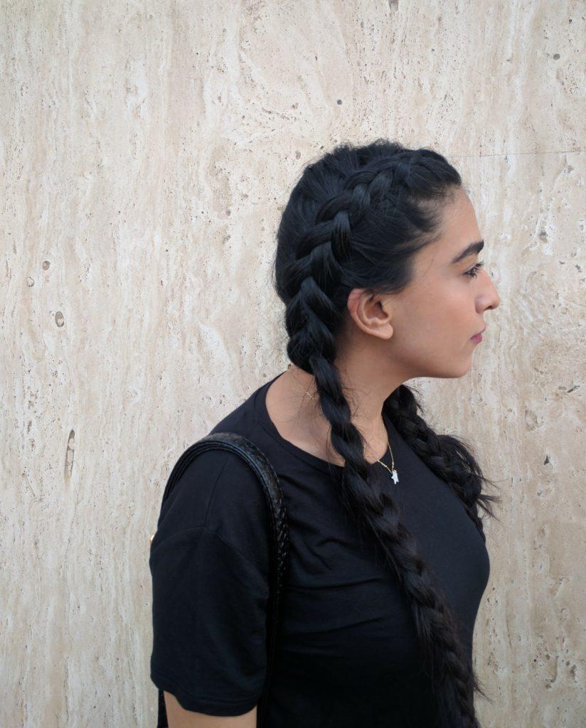 Dutch braids, hairstyle, long hair, dry shampoo, swarovski pendant,