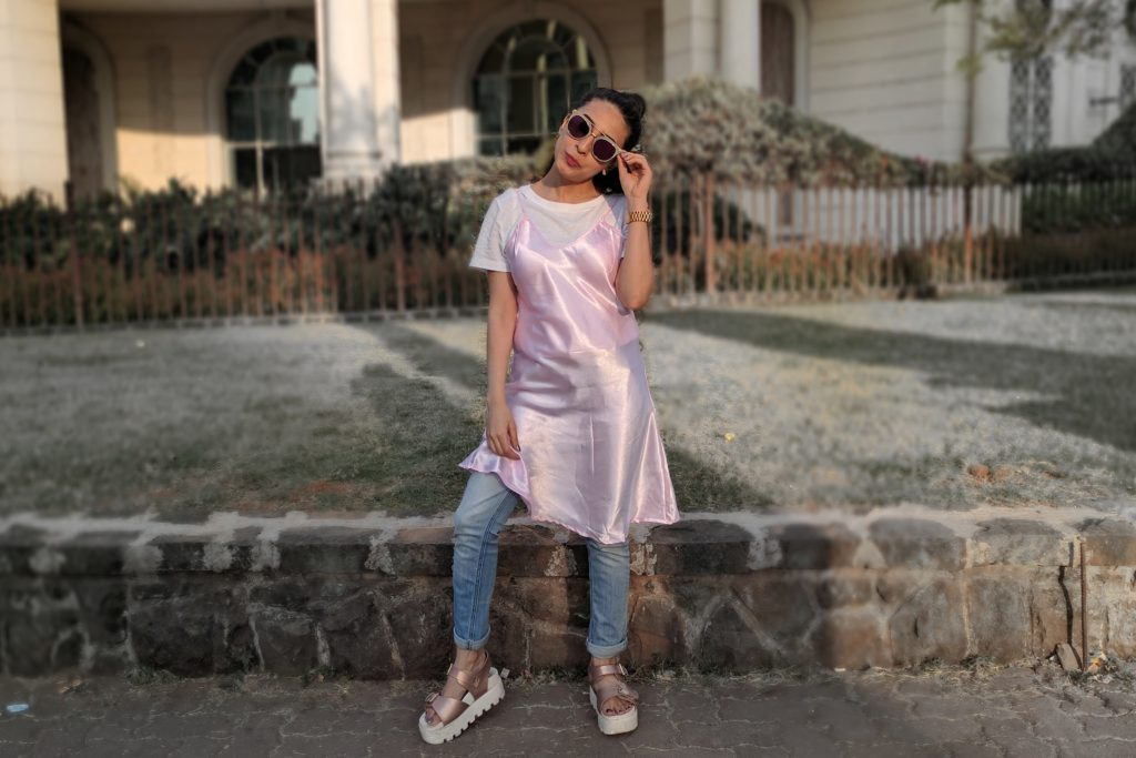 details, pink slip dress, slip dress, india street style, fashion , blogger