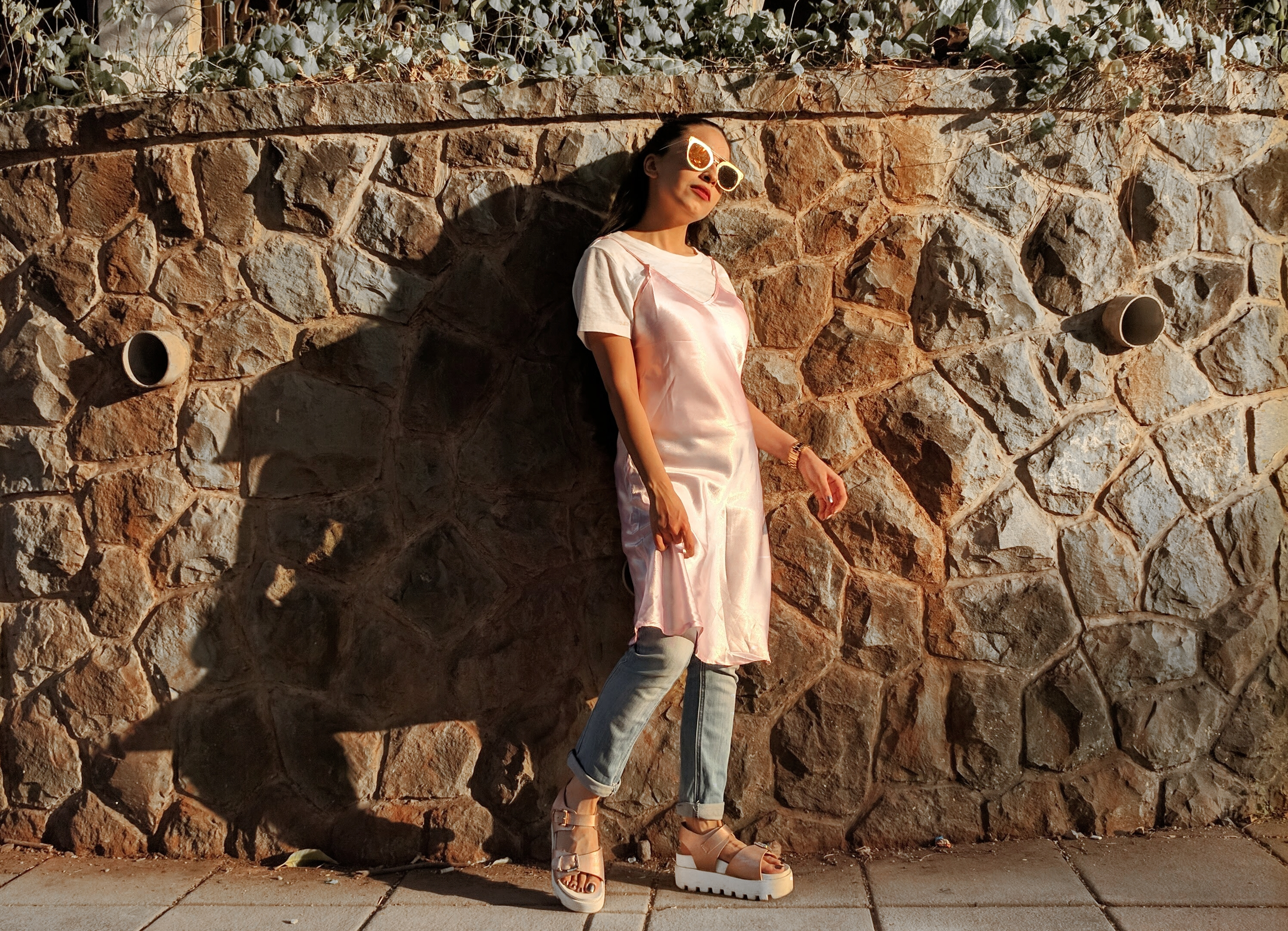 pink slip dress, dress over jeans, slip dress, white t-shirt, street style, indian fashion blogger