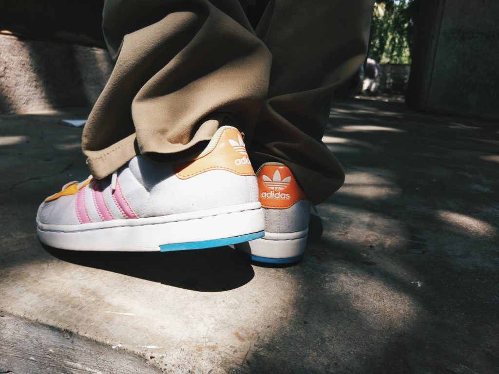 Adidas originals women, sneakers, retro sneakers, colorful sneakers, white sneakers, flared pants with sneakers
