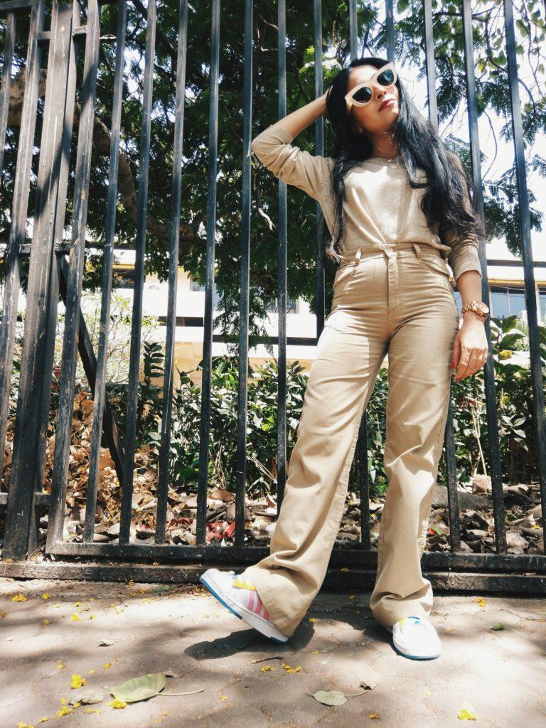 khaki look, monochrome, street style, ootd, work wear, pants, beige style, outfit,