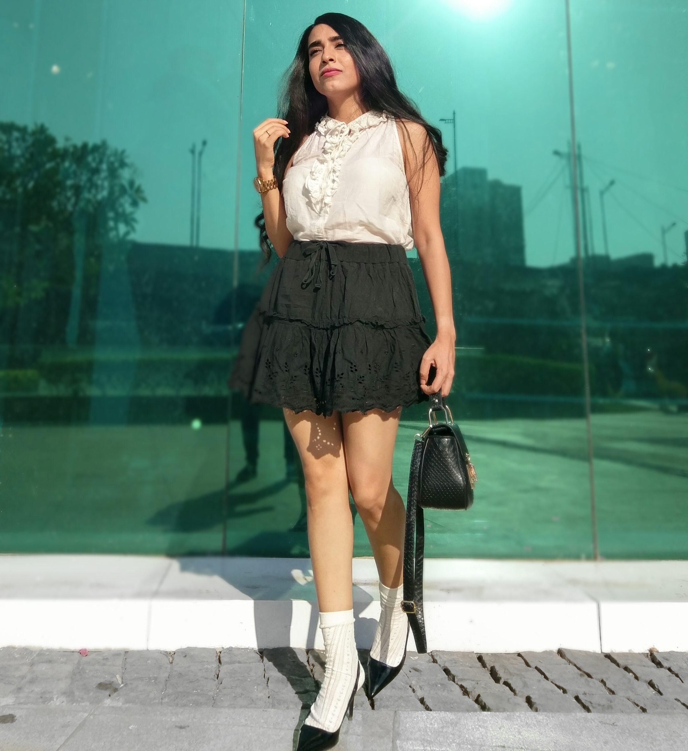 Ruffles, frills, monochrome, black & white, heels with socks, ootd, lookbook, style
