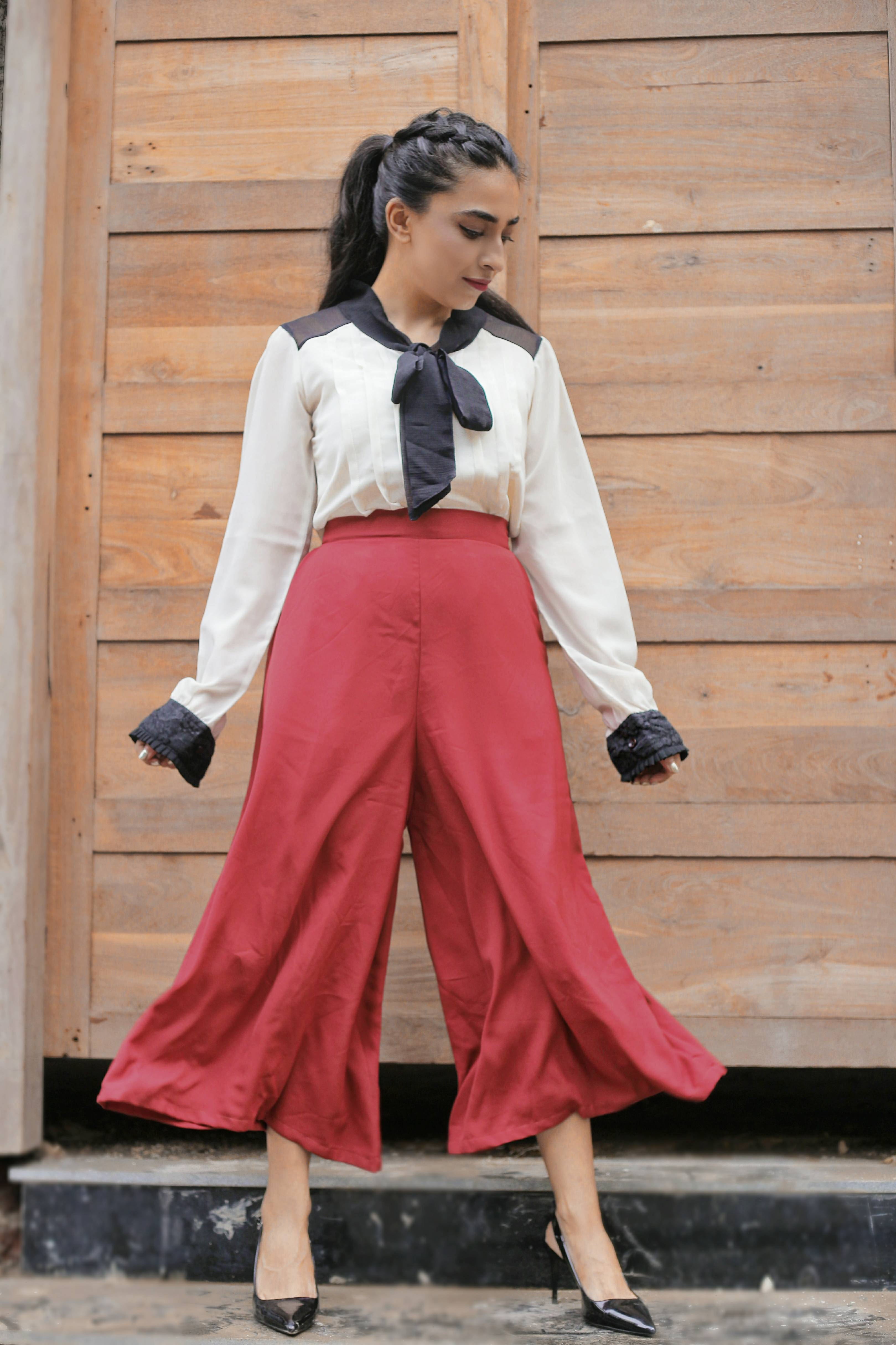 culottes, rust pants, red pants, work look, formal look, office look, work style inspo, officewear, friday dressing, miss chase india, street style