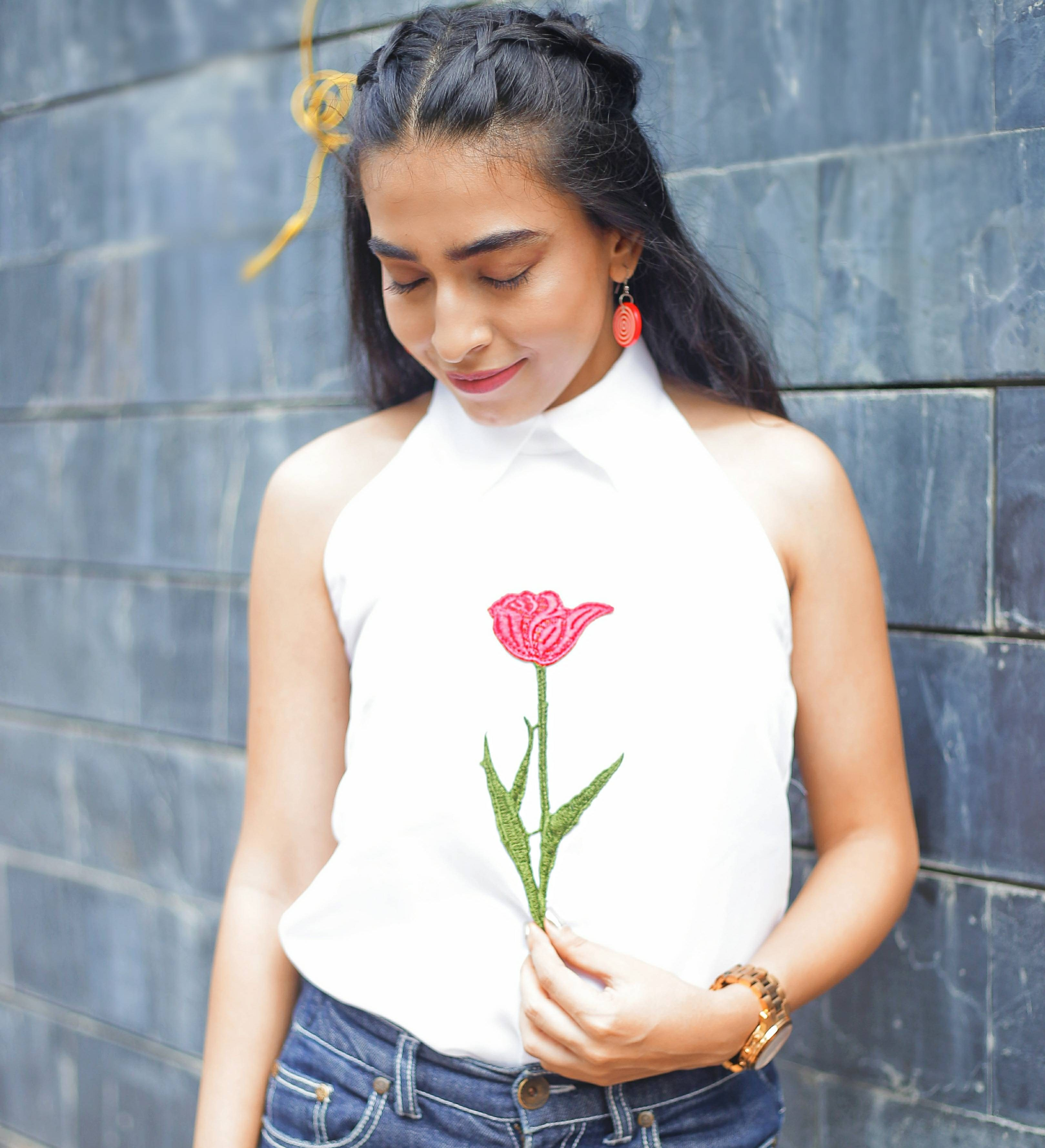 rose embroidery, floral embroidery, floral style, graphic tee, denim style, raw denims, halter top, white top, white shirt with denims, summer style, casual style