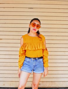 candy sunglasses, yellow shades, yellow sunnies, bellofox sunglasses, yellow fever, mustard top, casual street style, indian fashion blogger, street style, denim shorts, shorts style, how to wear yellow