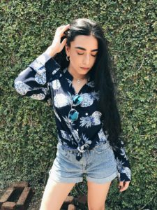 pineapple print shirt, blue shades, denim shorts, printed shirt, spring break, spring ootd,, street style, floral print, LA street style, fashion week