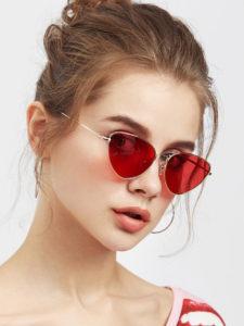 Oval Shaped Flat Lens Sunglasses