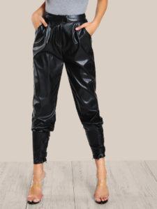 Faux Leather Cigarette Buckle Pants
