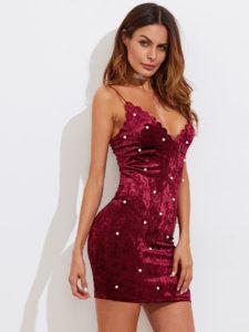 Scalloped Neck Pearl Beading Crushed Velvet Dress
