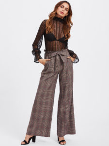 Tie Waist Plaid Wide Leg Pants