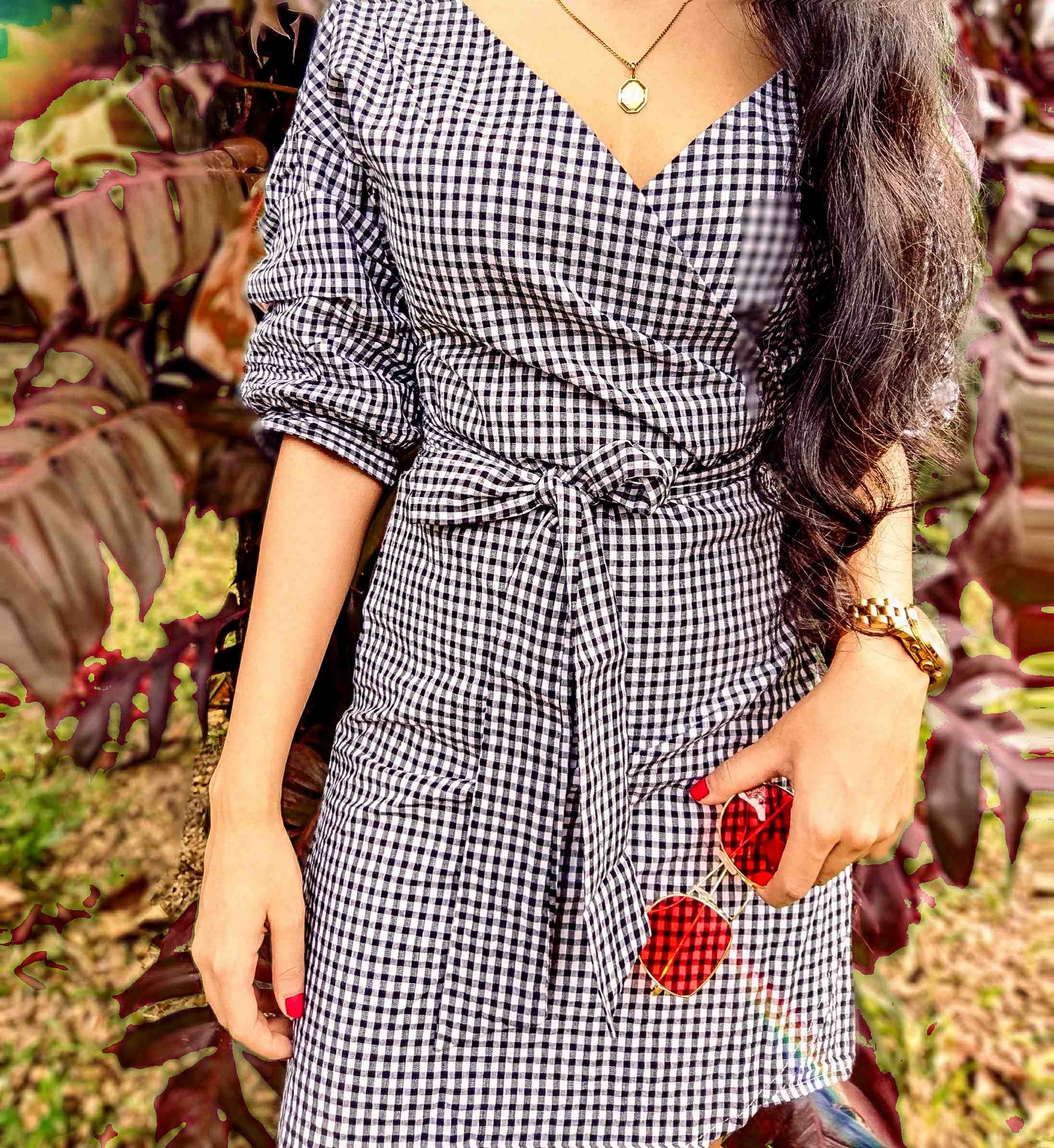 gingham dress wrap around dress street style indian street style fashion week black and white dress short dress outfits 2018 boots