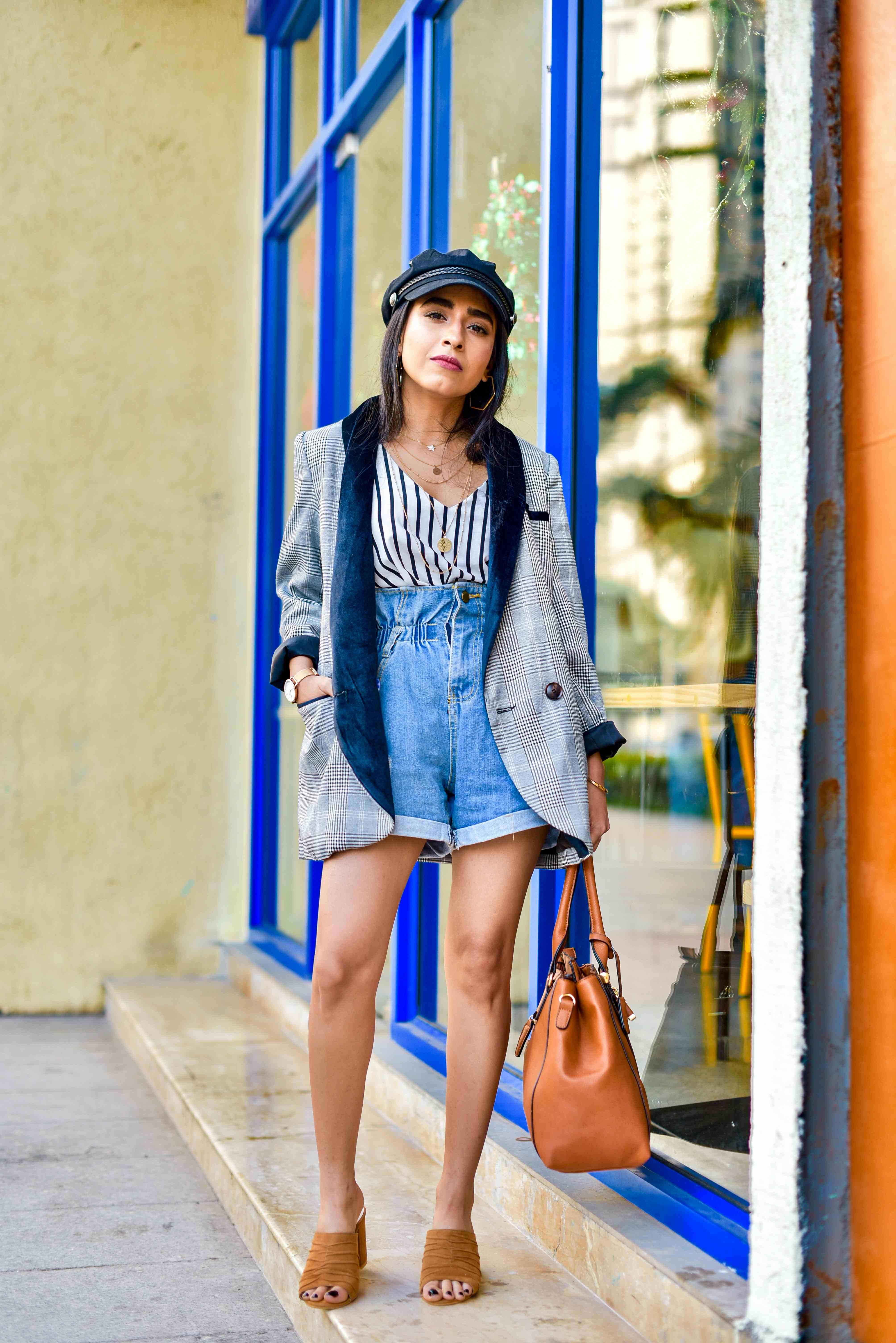 plaid blazer, checks & stripes, black & white, monochrome outfit, ootd, denim shorts, tan accessories, shein, romwe, indian fashion, lakme fashion week, indian street style, blazer outfit, casual blazer outfit,