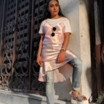 Pink Slip Dress With Denims