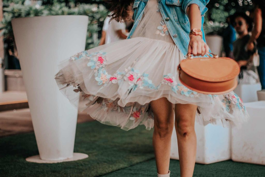 lakme fashion week, lfw, lfwwf2018, fashion week, lakme fashion week street style, fashion week street style, amazon fashion week, india fashion week, street style india, india fashion blogger, not so serious by pallavi mohan, designer, indian designer, tulle dress, embroidered dress, denim jacket