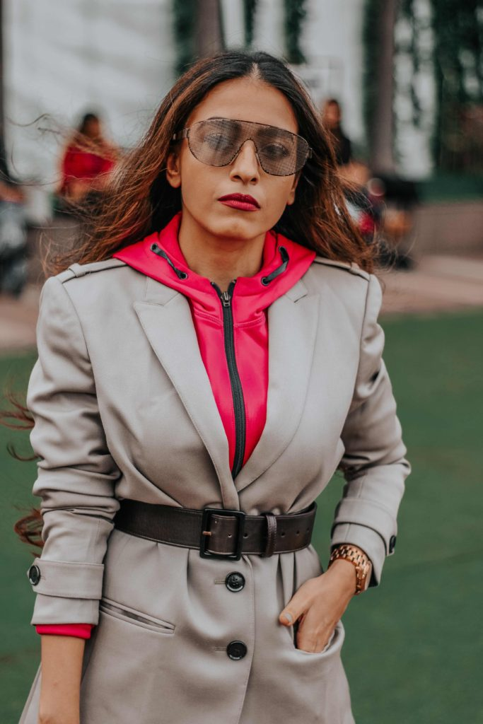 burberry, ysl, burberry blazer, neon street style, hoodie with blazer,lakme fashion week, lfw, lfwwf2018, fashion week, lakme fashion week street style, fashion week street style, amazon fashion week, india fashion week, street style india, india fashion blogger,