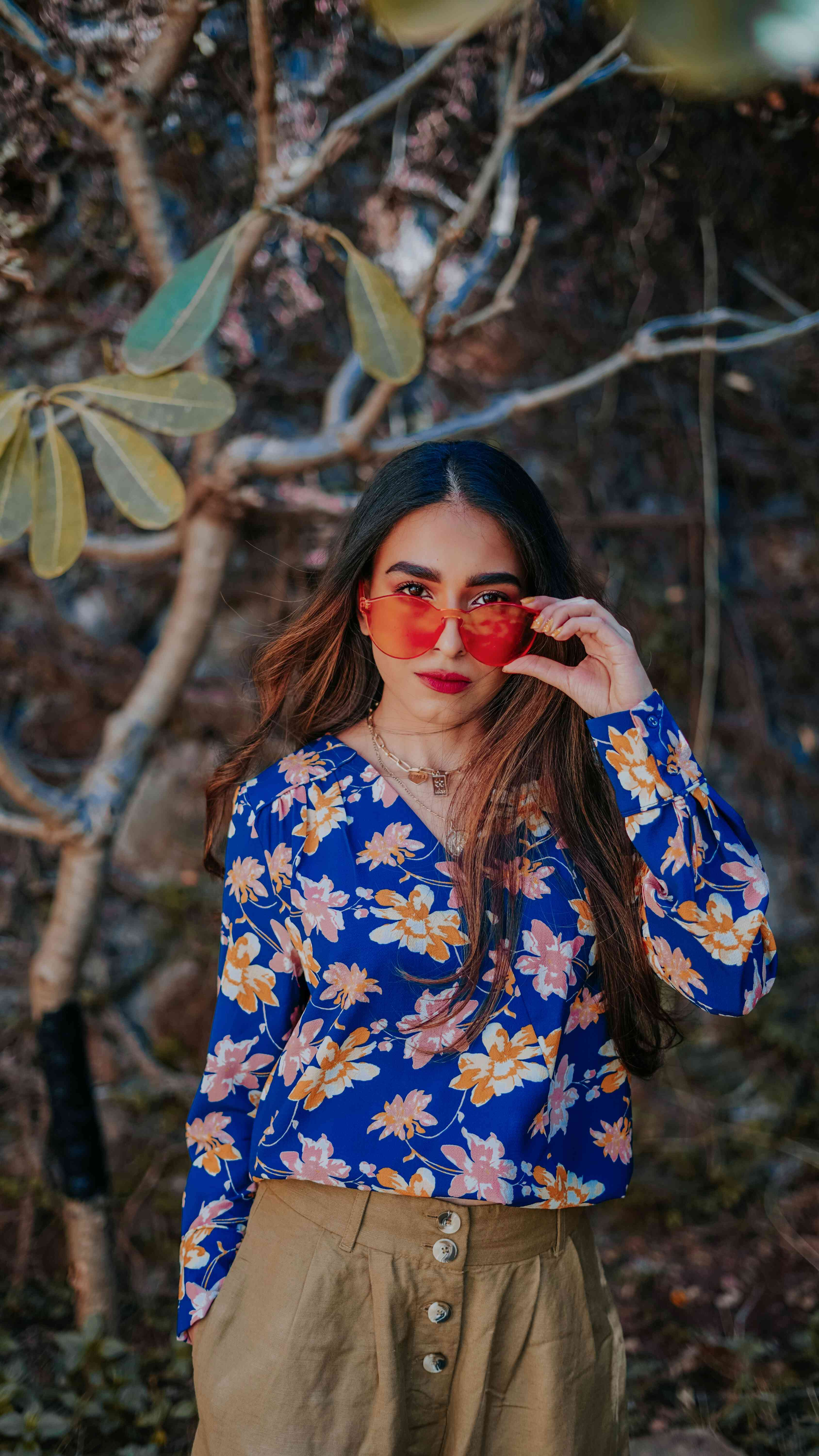 Bright blue floral top, yellow shades summer outfit
